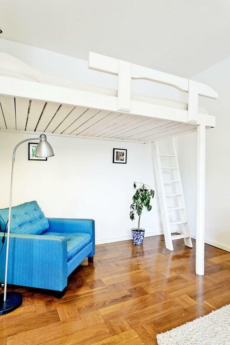 Hochbett für Erwachsene aus Holz in Weiß