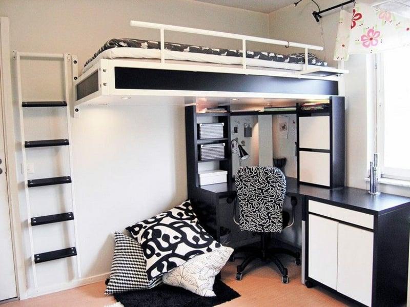 Hochbett für Erwachsene schwarz und weiß