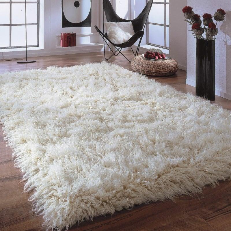 Flokati Teppich weiß kuschelweich