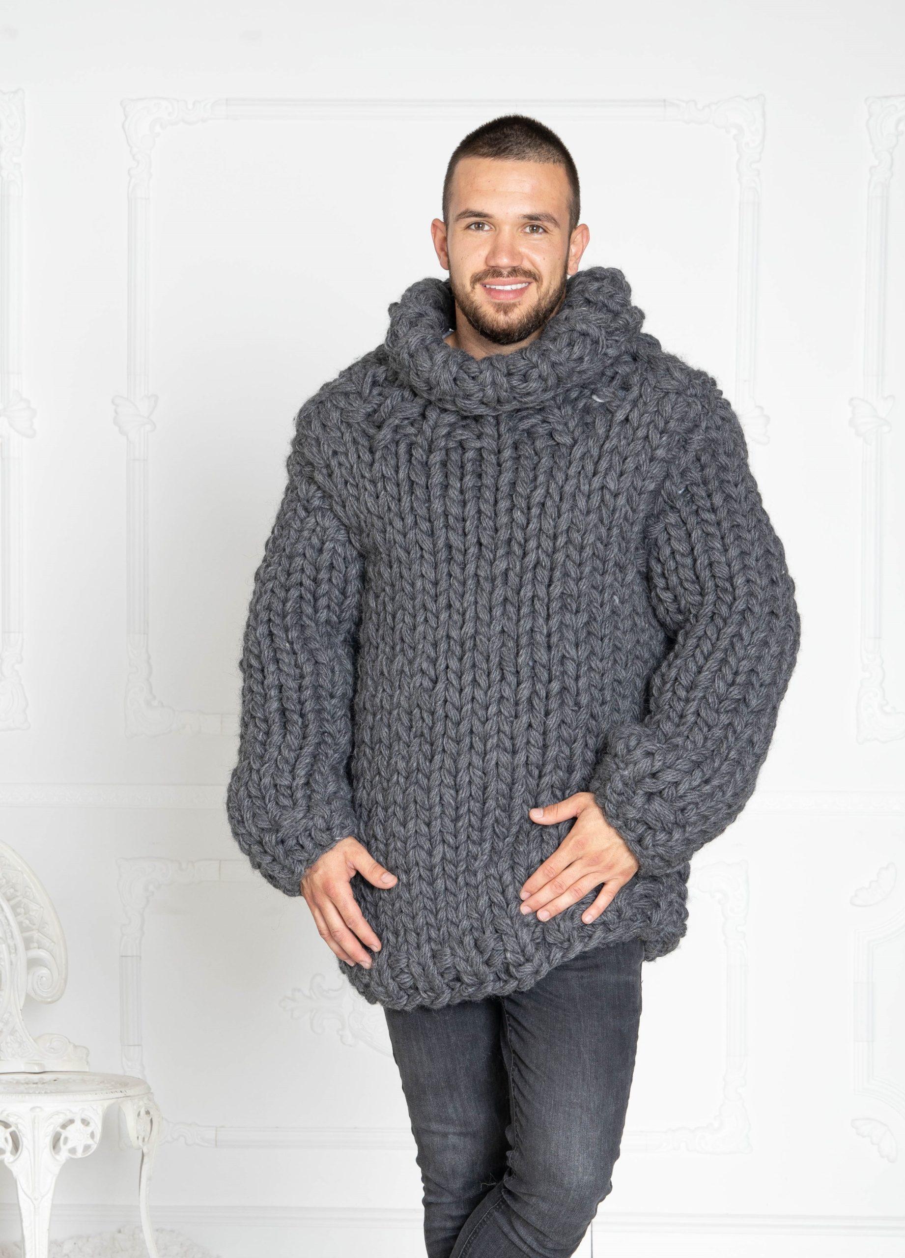 Gestrickte Pullover in grau für Männer