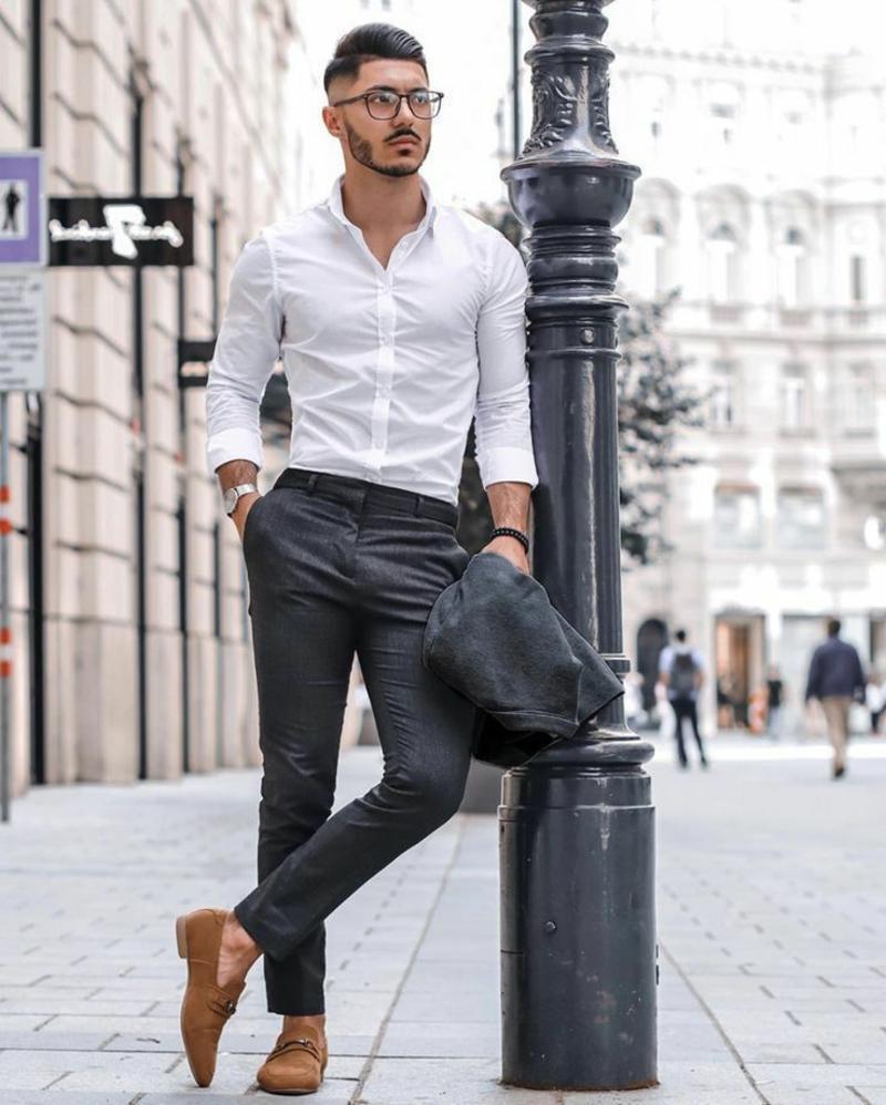 elegante Hose mit Hemd tragen