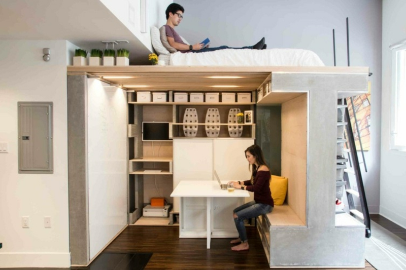 Hochbett für Erwachsene Home Office einrichten