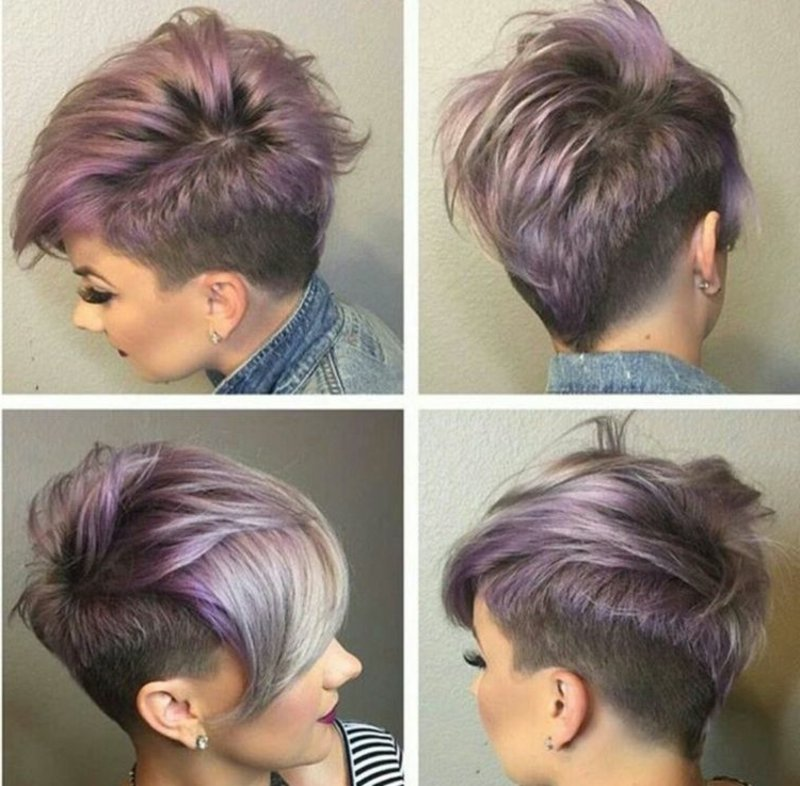 Undercut Haarfarbe Pastellrosa Grau