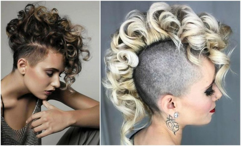Haare kurz rasieren Frau Irokesenschnitt Deckhaar Locken