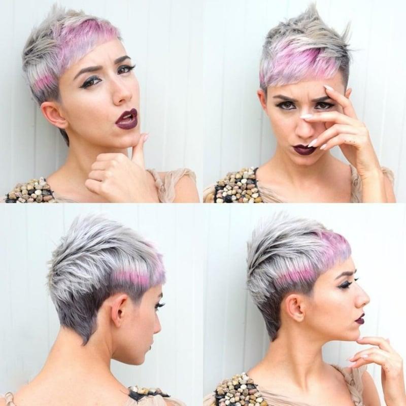 Haare kurz rasieren Frau auffälliger Irokesenschnitt