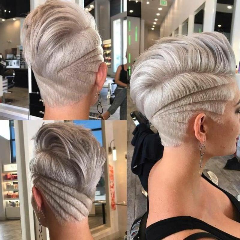Haare kurz rasieren Frau Irokesenschnitt mit Übergang