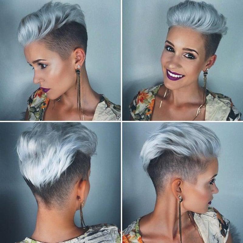 Haare kurz rasieren Frau Undercut Deckhaar silbern