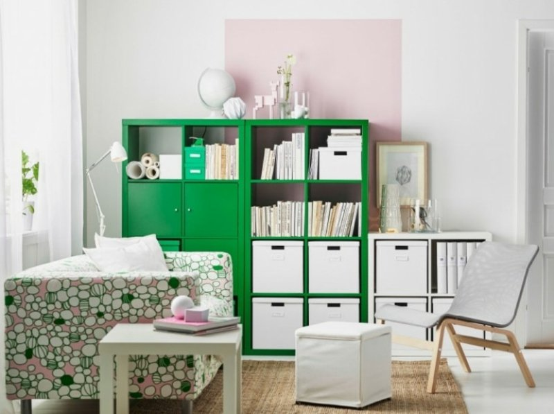 grünes Kallax Regal IKEA
