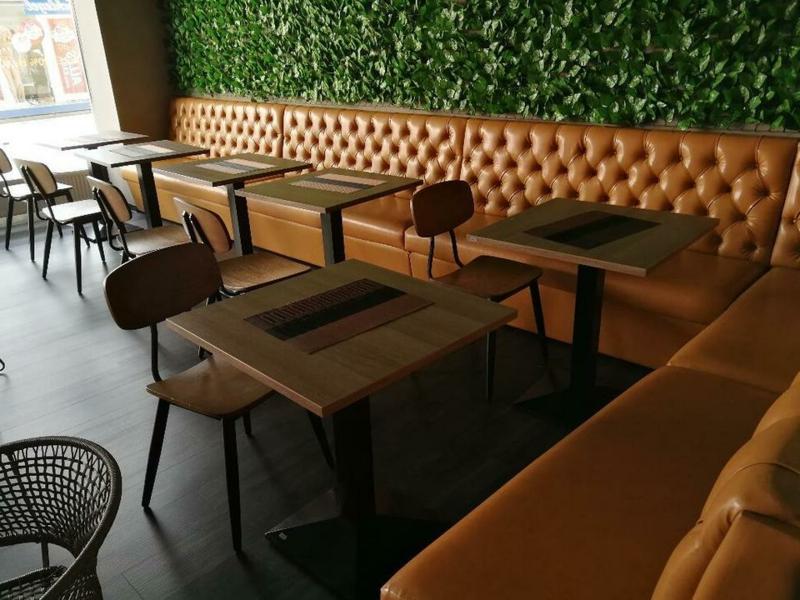 Sofa lang Lederpolsterung Braun