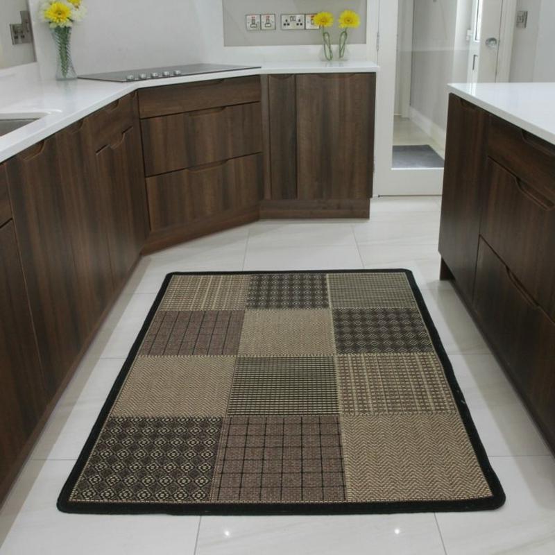 Patchwork Teppich braun