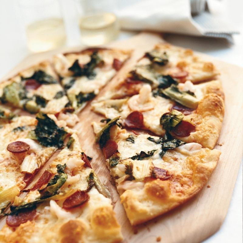 knusprige Pizza mit champignons