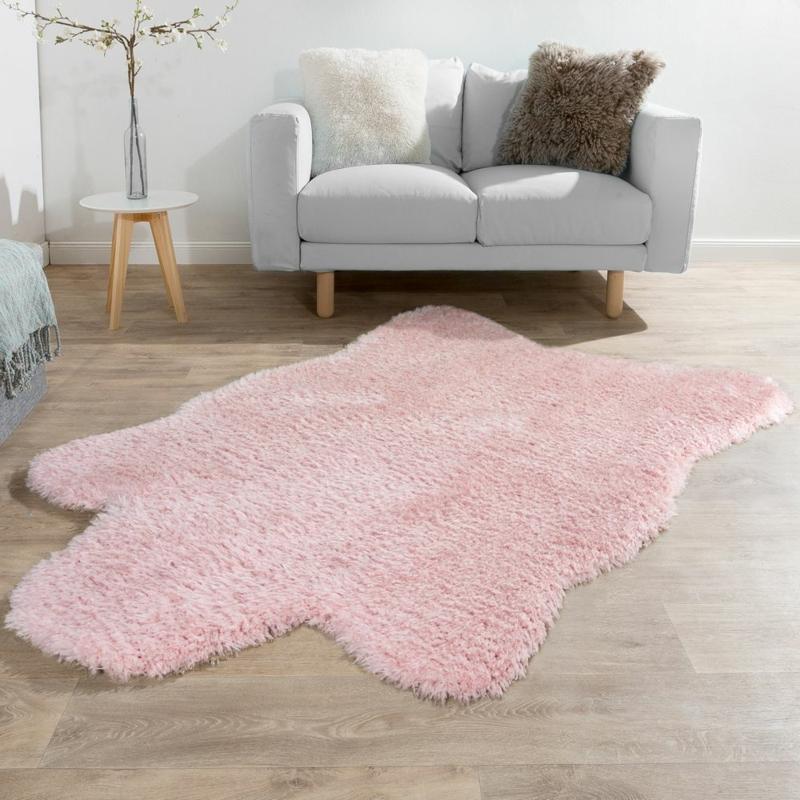 rosa Flokati Teppich klein
