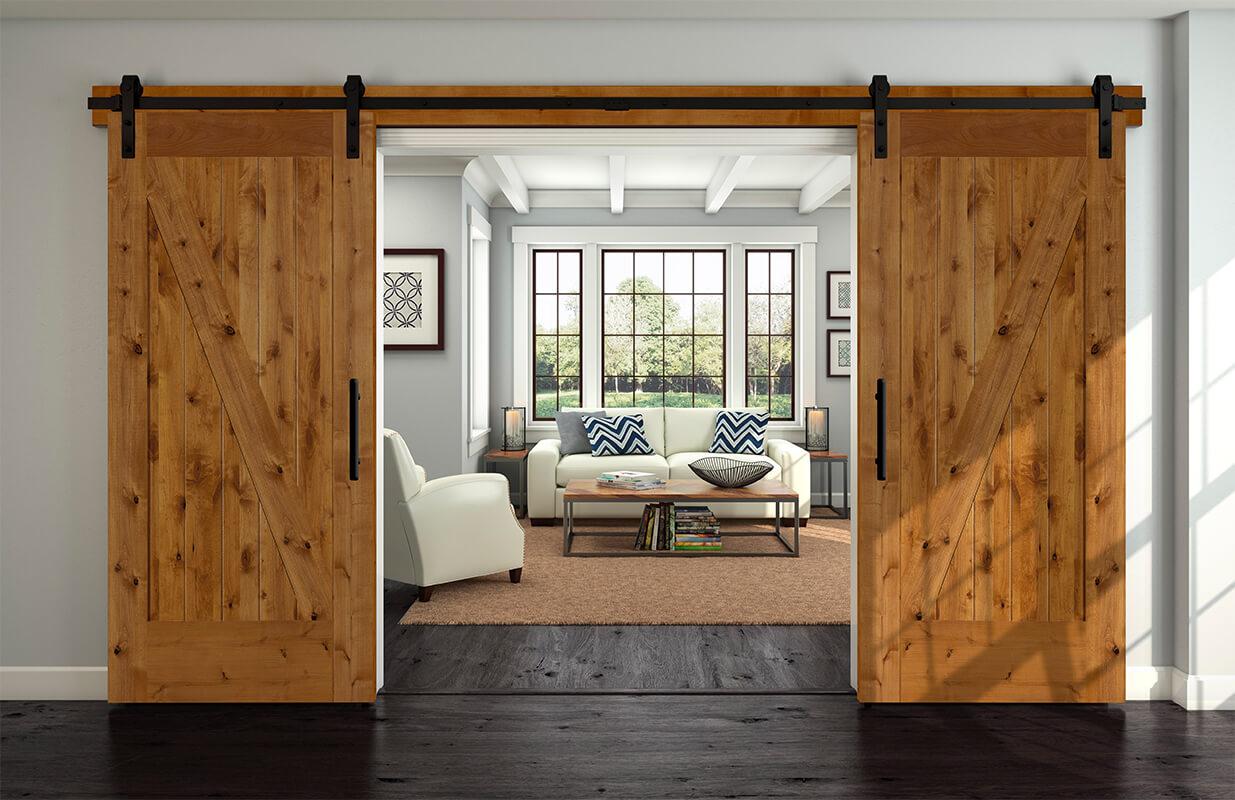 Schiebetüren aus Holz mit schwarzen Rahmen