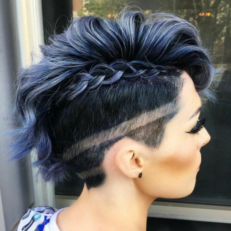 Sidecut Muster toll Flechtzopf blaue Haare