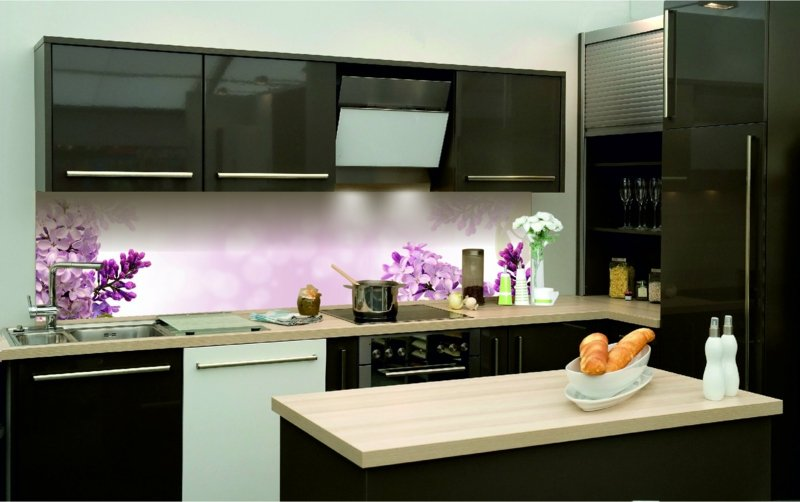Küchenrückwand Glas Blumenmotiv