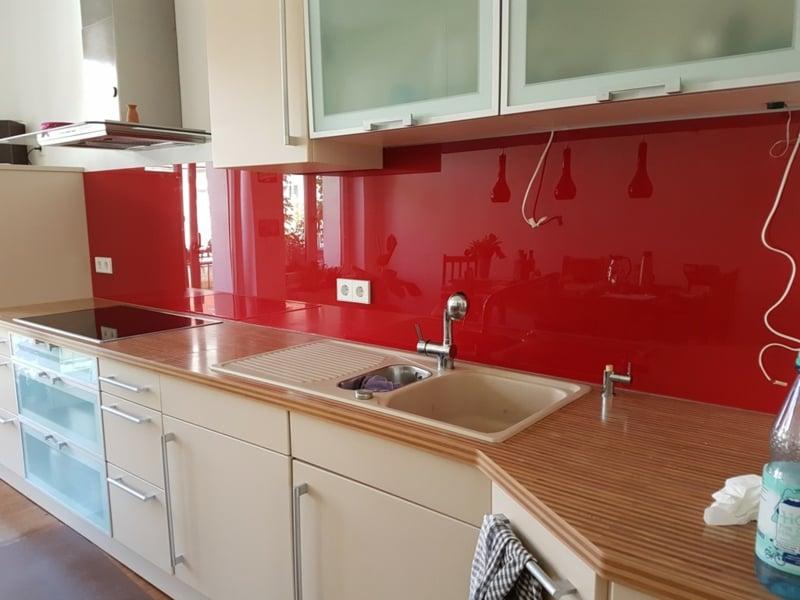 Wandpaneele Küche Glas rote Küchenrückwand