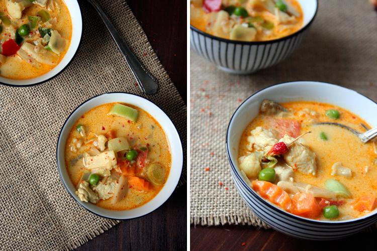 Suppe mit Hähnchenfleisch asiatisch