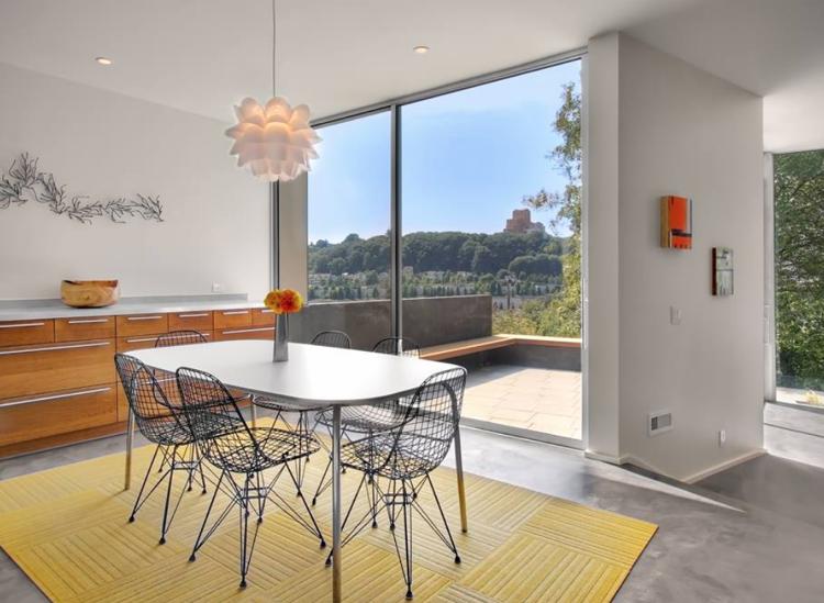 Teppich Esszimmer gelb geometrische Motive