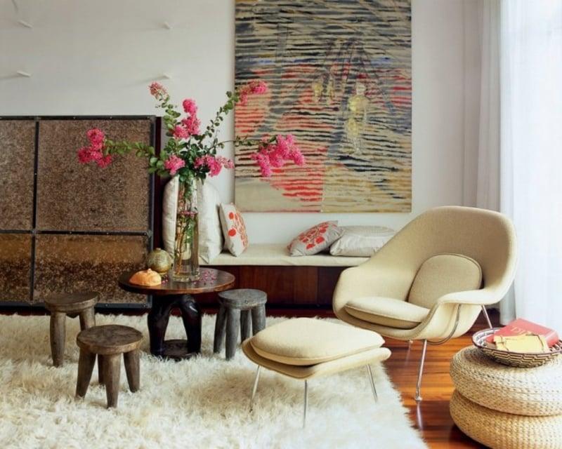 Flokati Teppich im Wohnzimmer