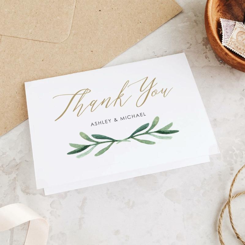 Dankeskarten stilvoll Pflanzenmotiv