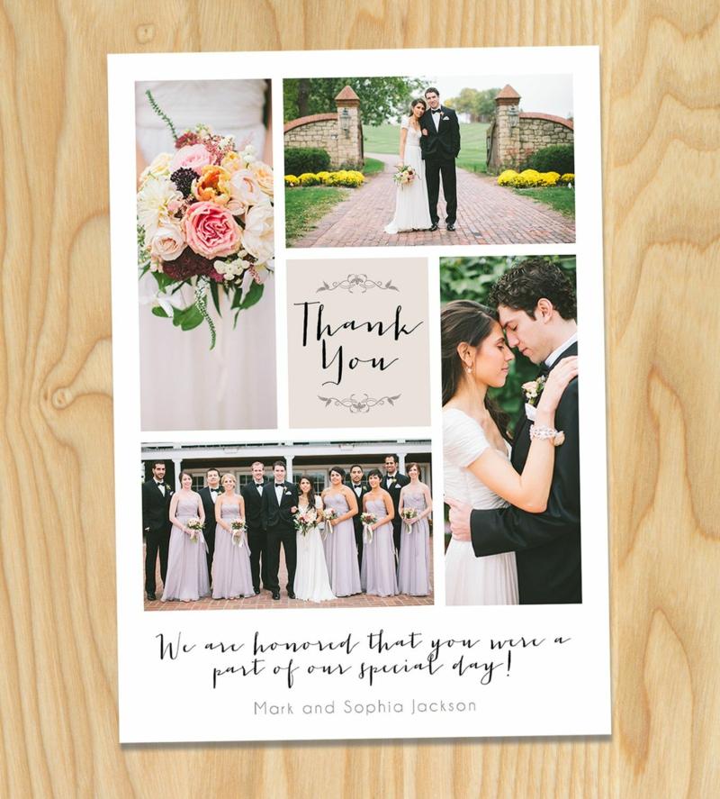 Hochzeit Dankeskarte mit tollen Fotos
