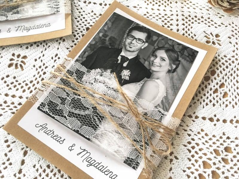 Hochzeit Dankeskarten Spitze Juteband