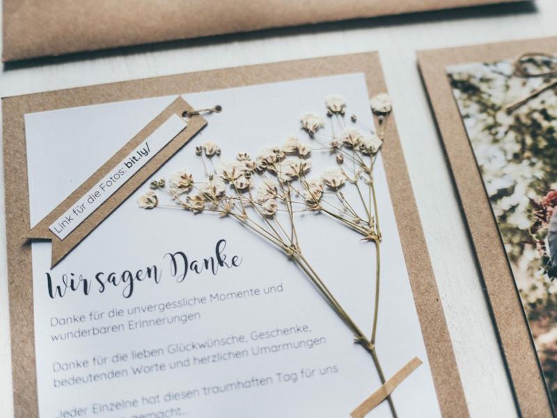 Hochzeitskarten tolles Design trockene Blumen