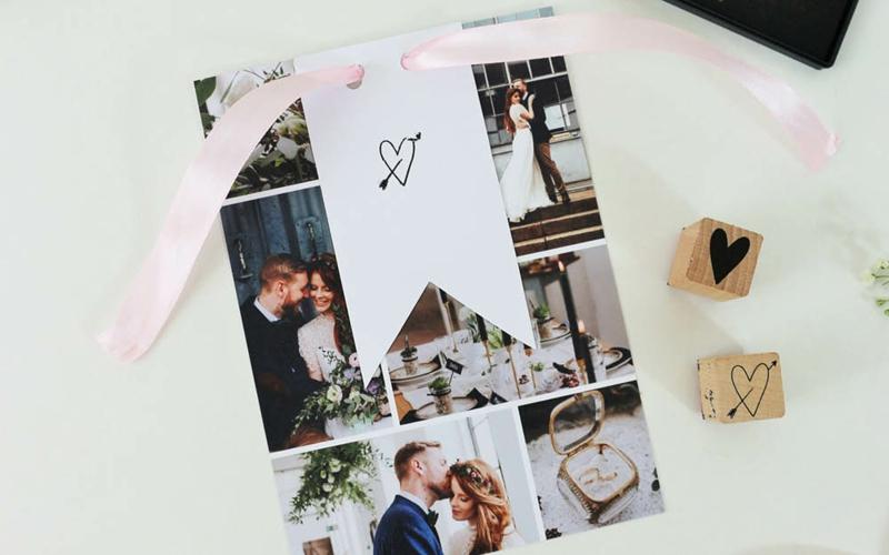 Fotocollage gestalten Hochzeitskarten