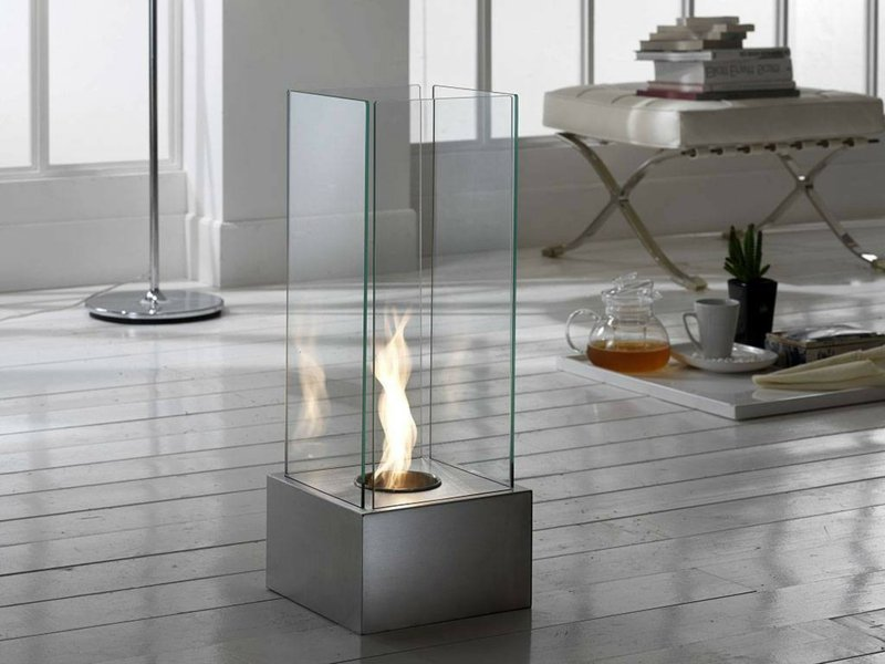 freistehender Kamin Glas