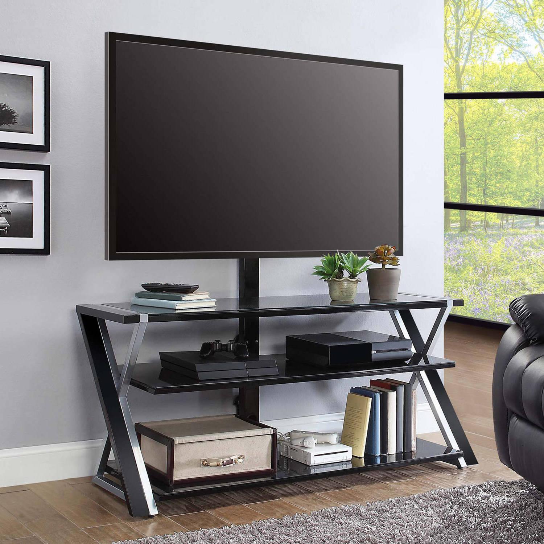 TV Ständer aus Metal und schwarzem Glas