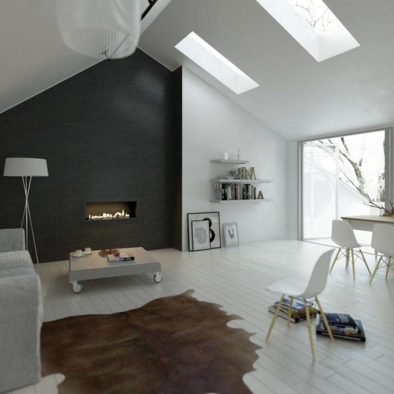 Wohnzimmer mit Dachschräge