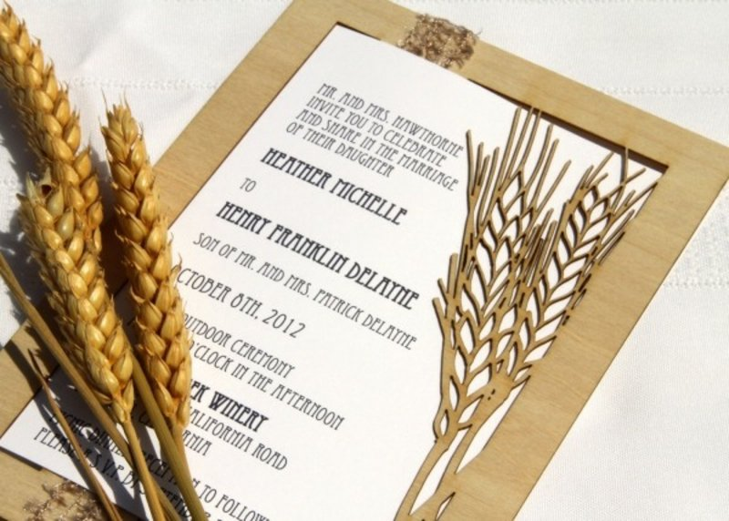 Hochzeit Einladungen gestalten Vintage Getreide