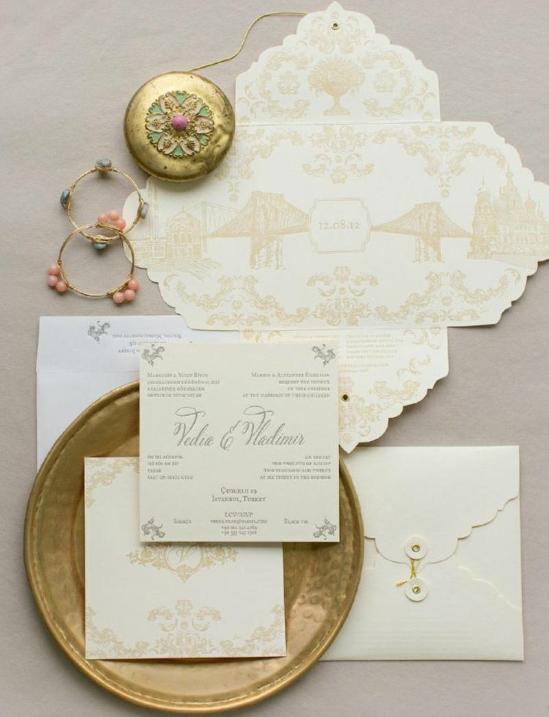 Hochzeit Einladungen gestalten Vintage Spitze