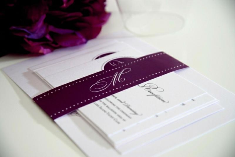 elegant Einladungskarten Schleifen violett