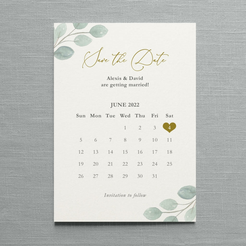 Kalender elegant Save the Date Karte
