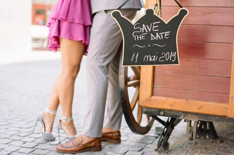 Hochzeitstermin geschrieben Tafel originell