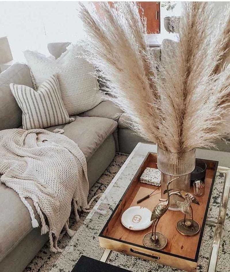Dekoideen Ziergras Couchtisch Wohnzimmer