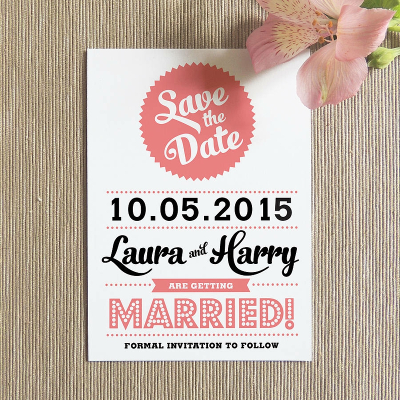 Save the Date Karte in Retro Stil