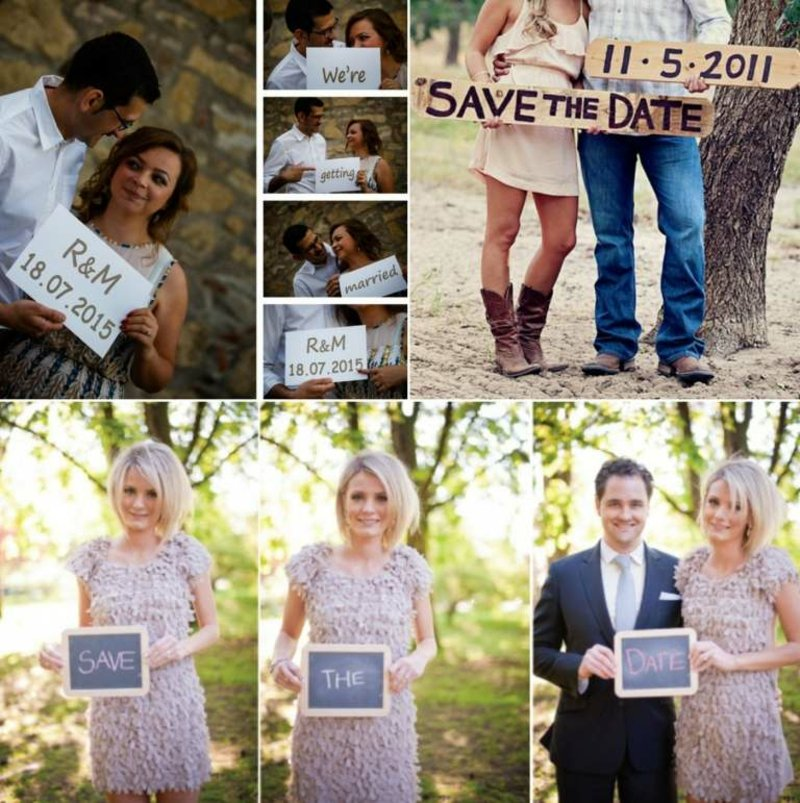 kreative Ideen Fotos Hochzeitsdatum bekanntmachen