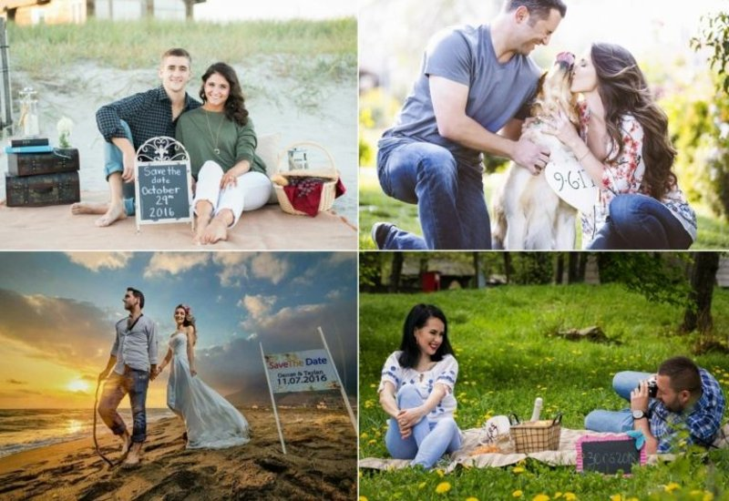 Collage Fotos tolle Designideen Save the Date Karten