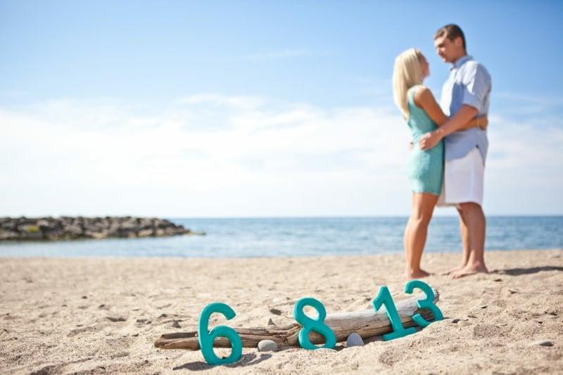 Hochzeitstermin mitteilen Zahlen Strand