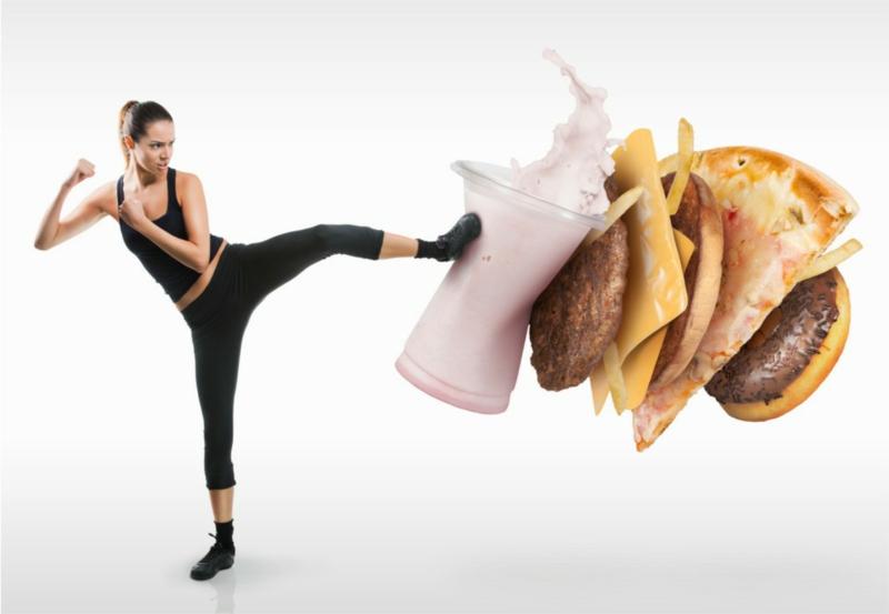 auf das ungesunde Essen verzichten