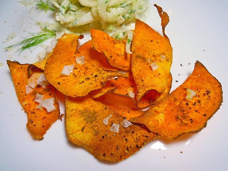 Süßkartoffel dünne Scheiben gebacken
