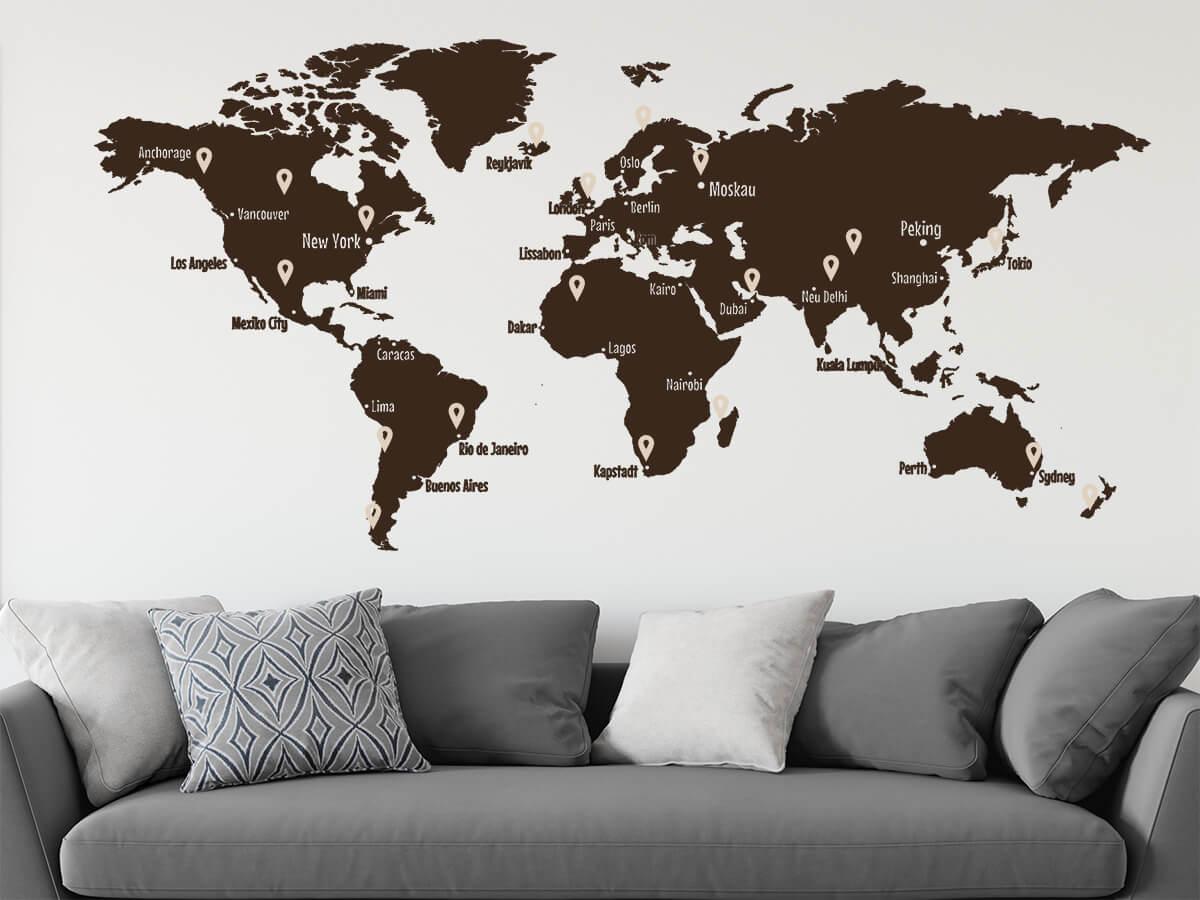 Tolle Wandtattoos mit einer Weltkarte