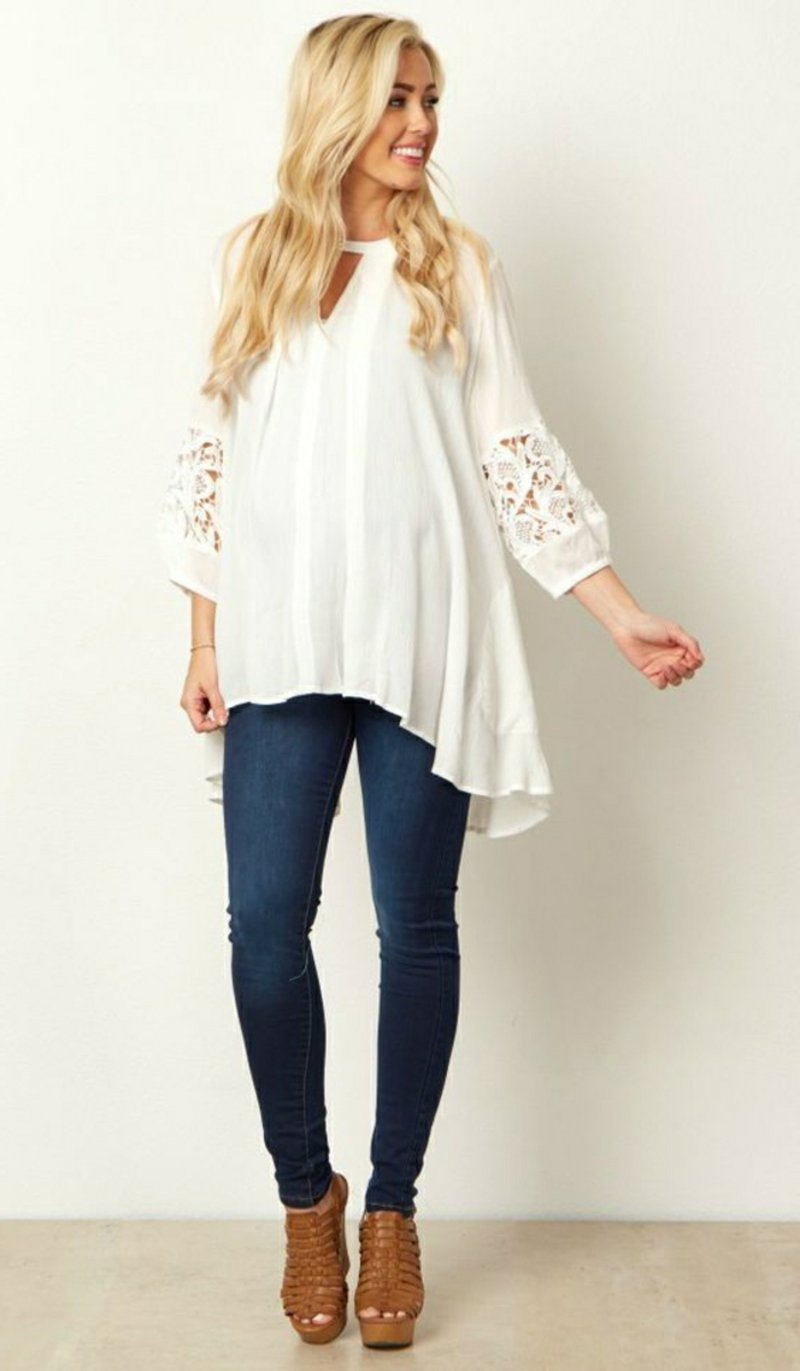 breite Bluse in Weiß