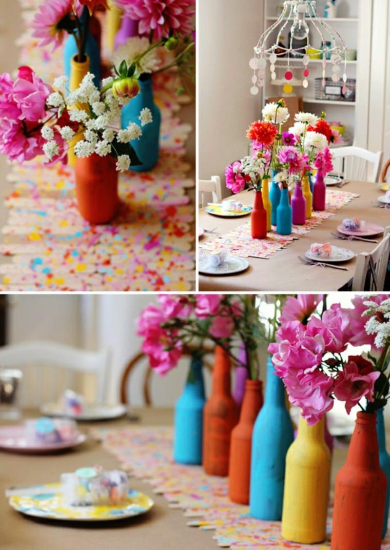Tischdeko für Geburtstag Blumen