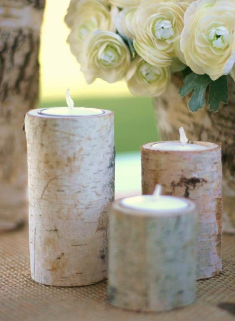 Kerzenhalter Naturlook Birkenstamm