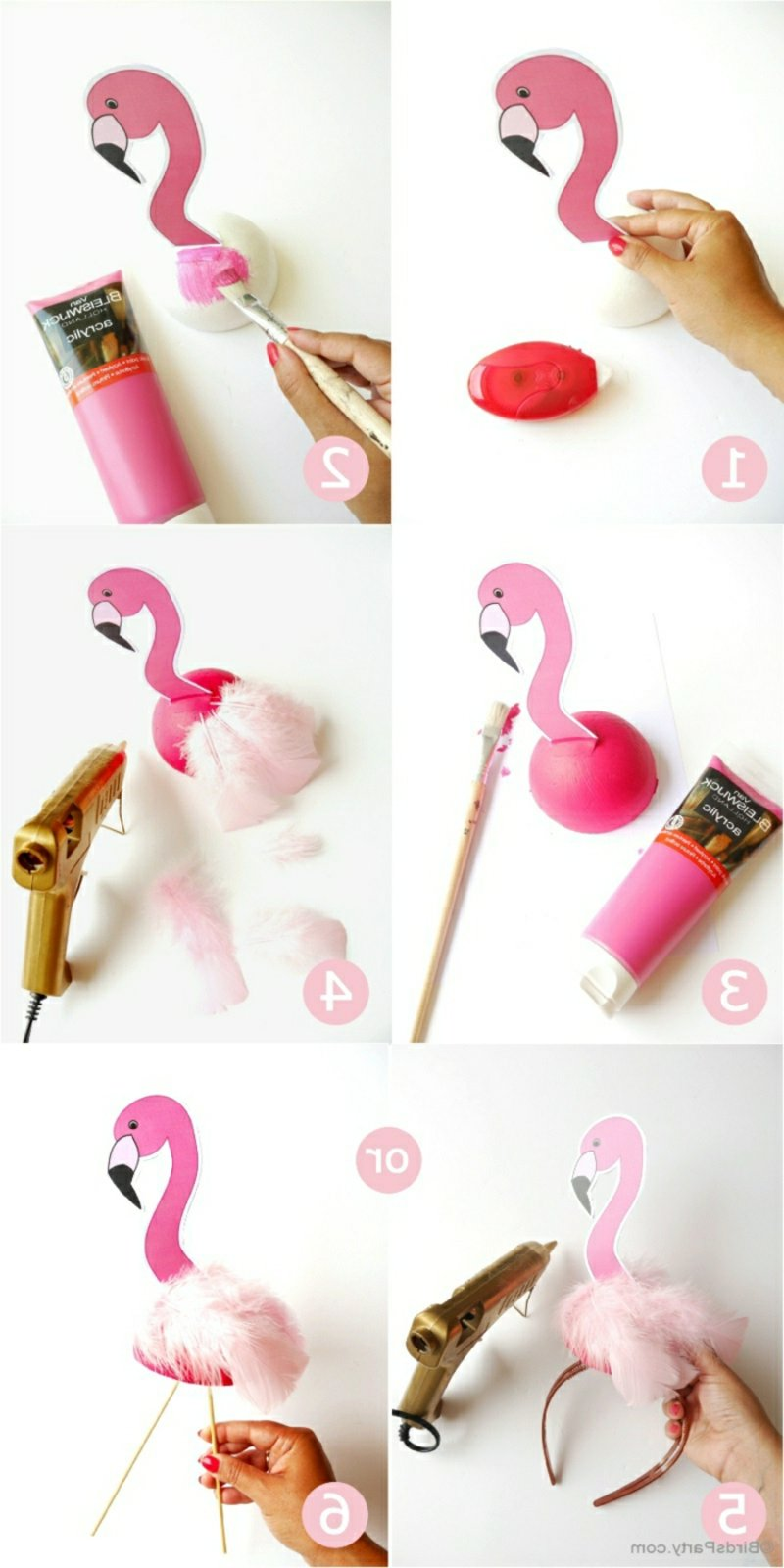 Tischdeko für Geburtstag selber machen Flamingos