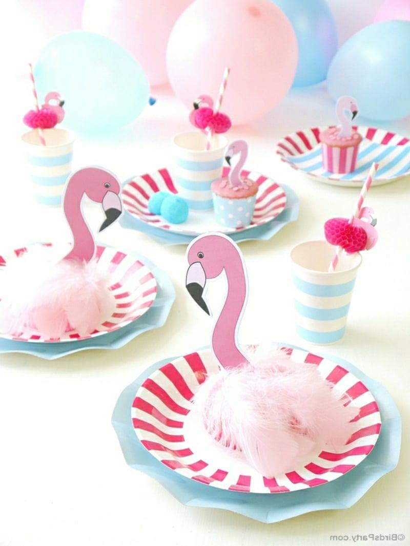 lustige Tischdeko Flamingos Papier