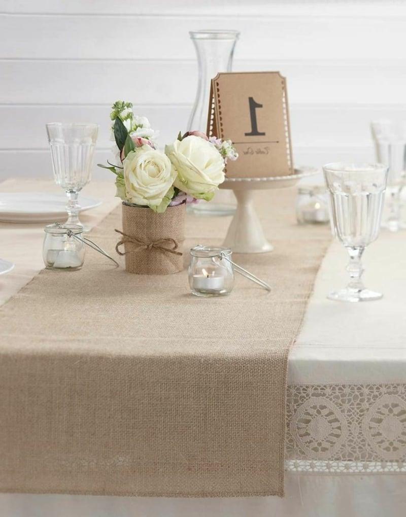 Tischdeko für Geburtstag braun cremeweiß